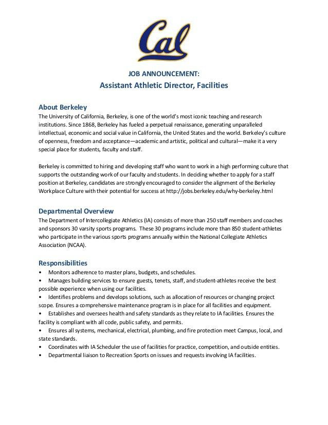 Hot Jobs: Assistant Athletic Director, Facilities UC Berkeley