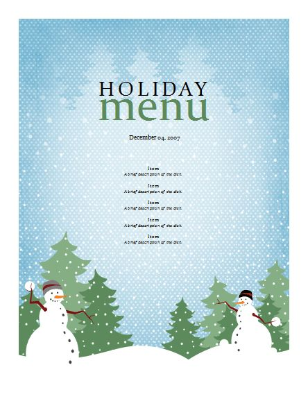 Menu Templates Free Word