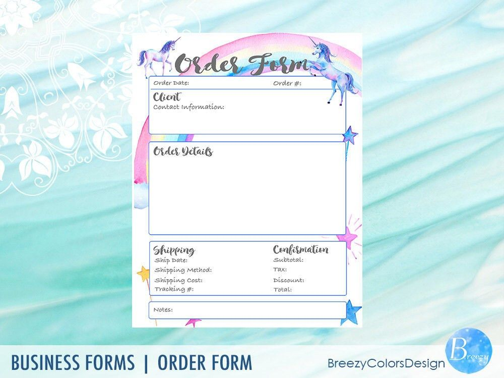 Unicorn Printable Order Form Templates, Craft Show Business ...