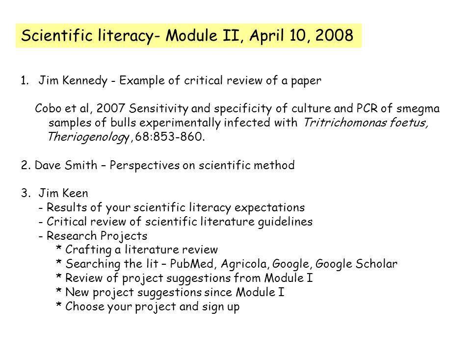Scientific literacy- Module II, April 10, Jim Kennedy - Example of ...