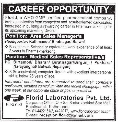 Florid Laboratories P. Ltd. - Area Sales Manager & Medical Sales ...