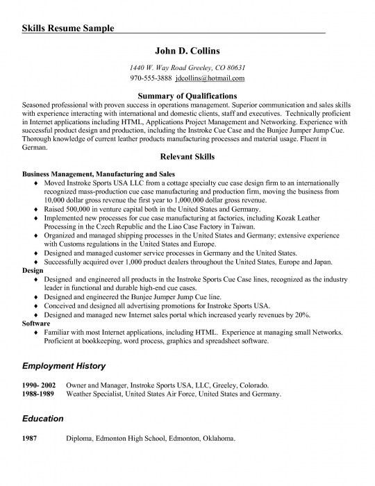 skill resume examples assistant manager resume sample functional ...
