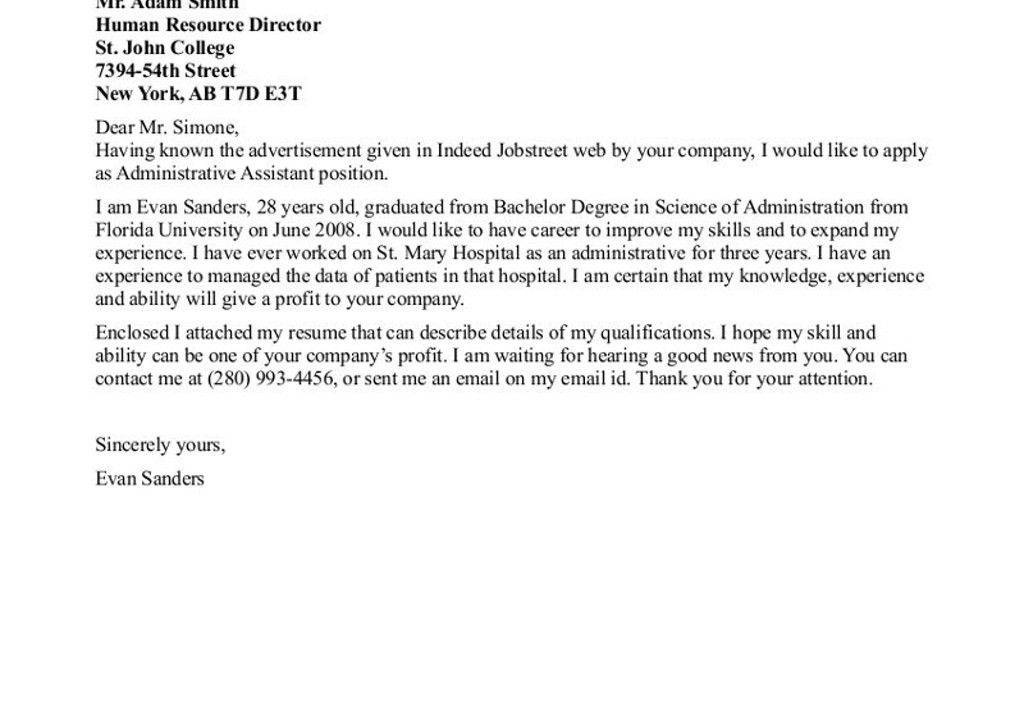 administrative assistant sample cover letter format administrative ...
