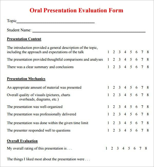 presentation survey template sample presentation evaluation 6 ...