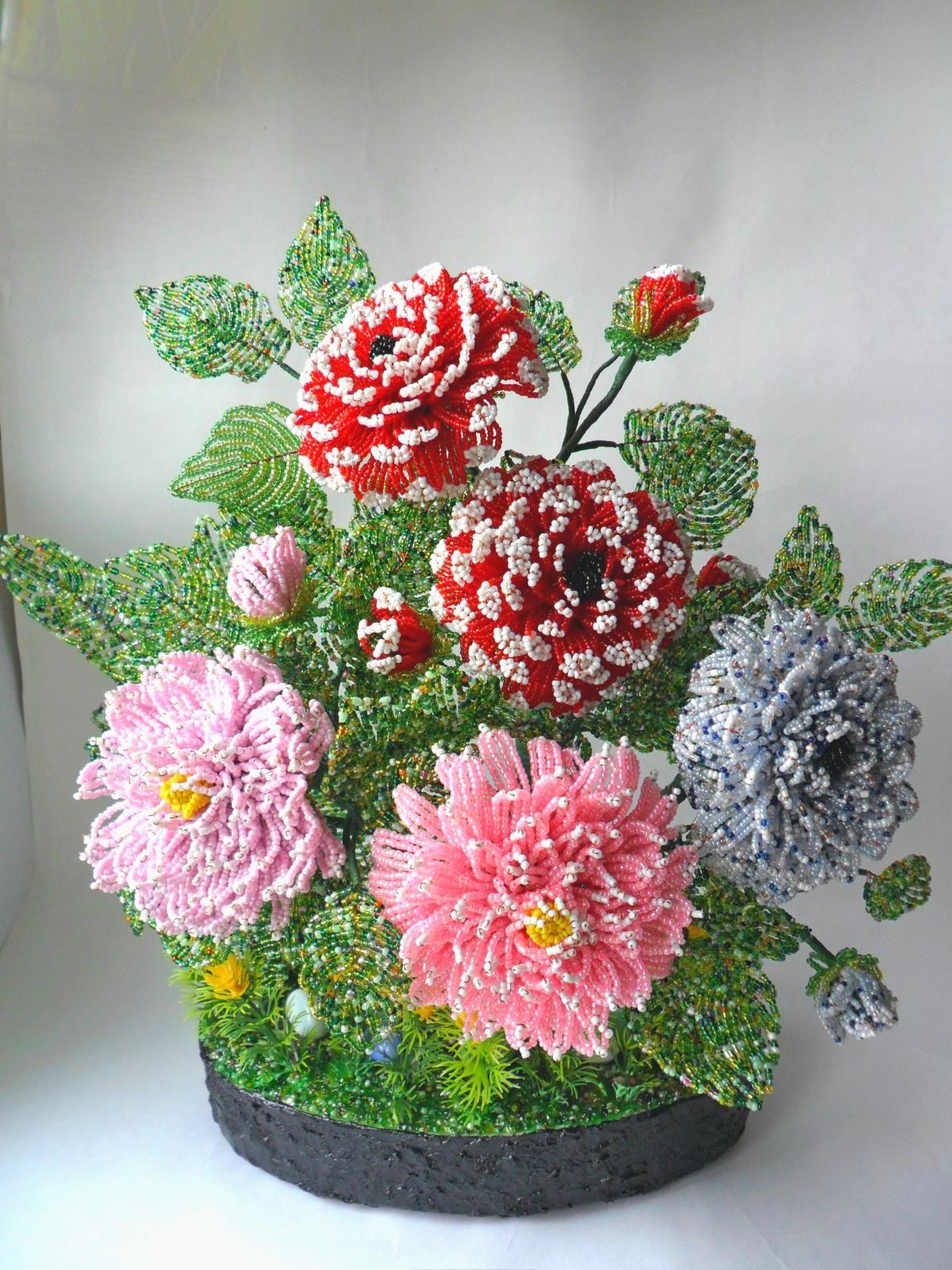 Мастер класс с пошаговым бисероплетение цветов