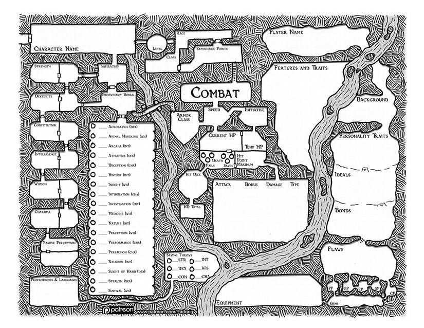 Map-Based 5e Character sheet. : dndnext