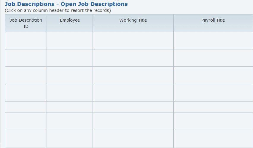 Job Description System: Using The Program