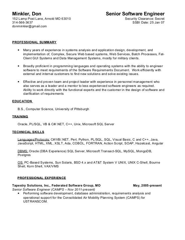 Don Minkler 2015 Resume