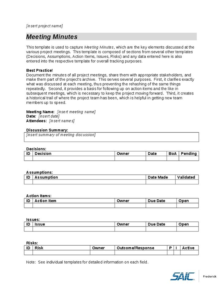 Minutes Document Template | Company Documents