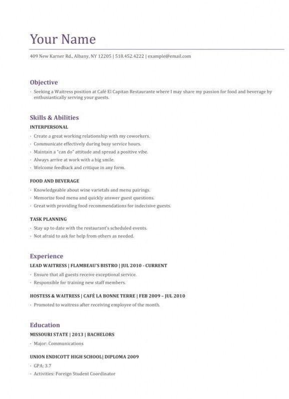 server resume sample. waitress name. waitress resume skills ...