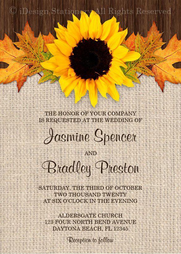 21+ Sunflower Wedding Invitation Templates – Free Sample, Example ...
