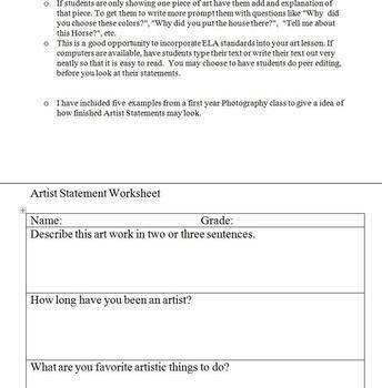Artist Statement Worksheet by I am your art teacher | TpT