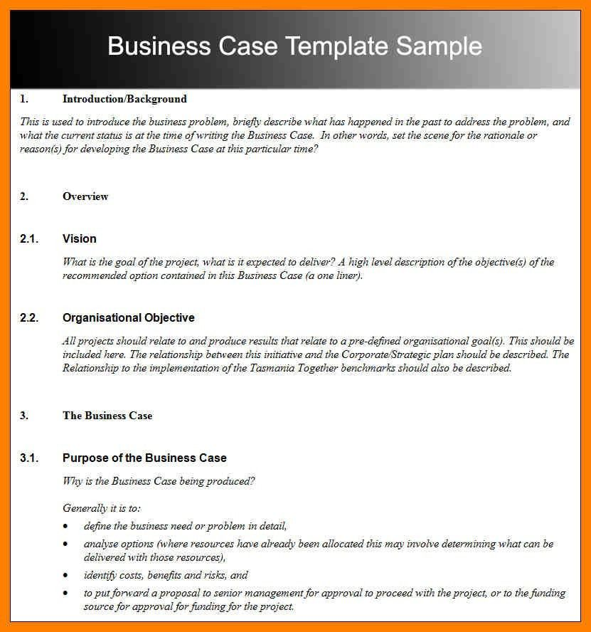 Business Case Template - Resume Templates