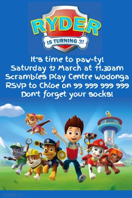 Paw Patrol Party Invitation template | PosterMyWall