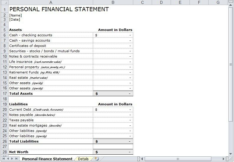 Personal Financial Statement. Free Printable Personal Financial ...