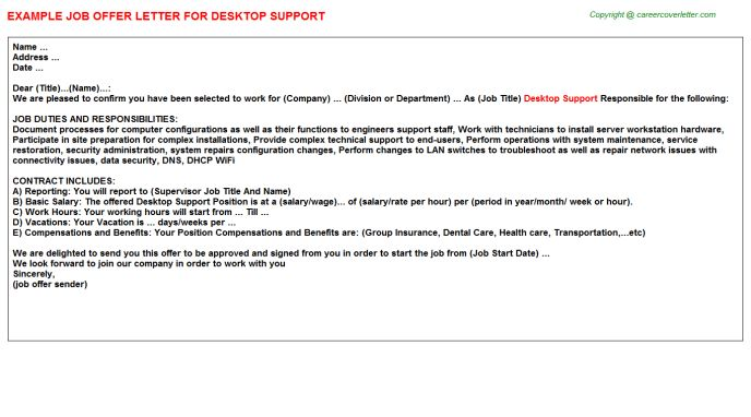 Desktop Support Engineer Offer Letters