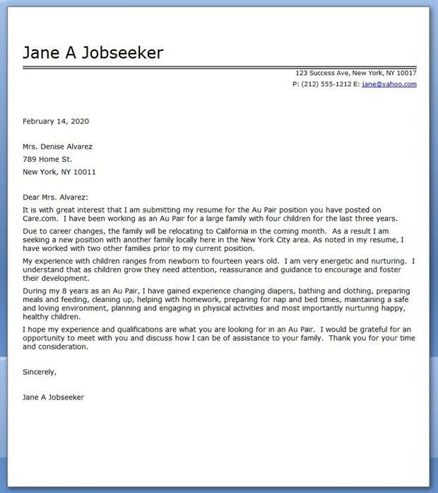 Au Pair Cover Letter Sample | Creative Resume Design Templates ...