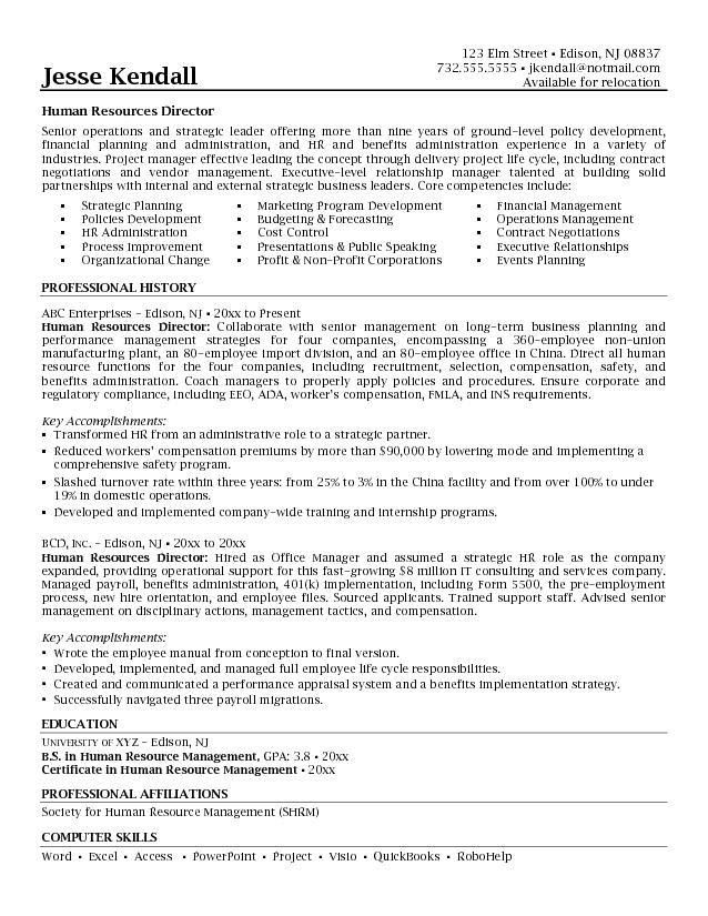 Human Resources Resume Objective - Resume Templates