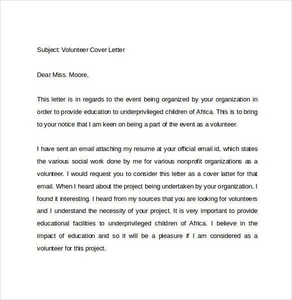 volunteer work cover letters