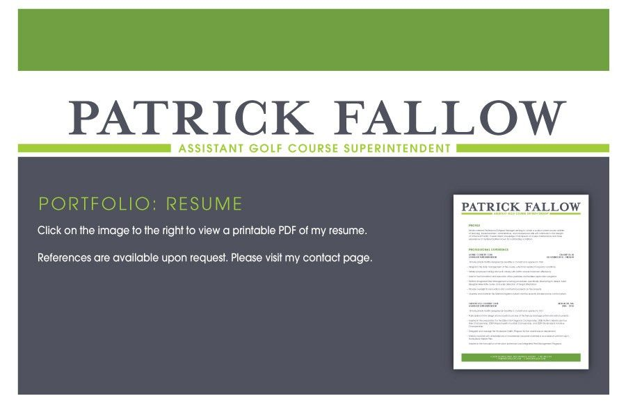 Patrick Fallow :: Assistant Golf Course Superintendent