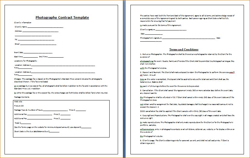 5+ Wedding Photography Contract Template | Timeline Template