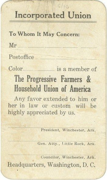 The Progressive Farmers & Household Union of America blank ...
