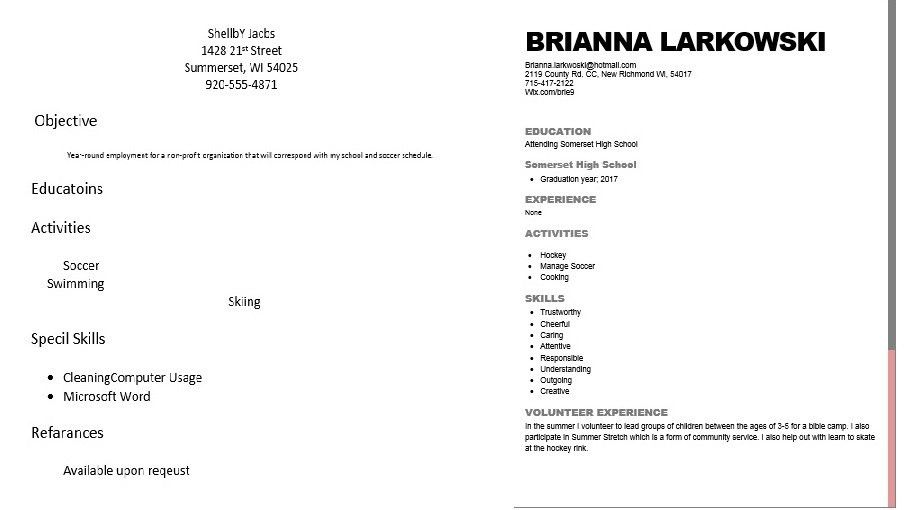 Sample of bad high school resume