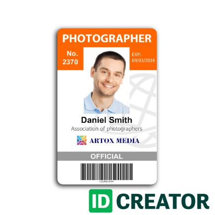 Professional Photographer ID Card from IDCreator.com