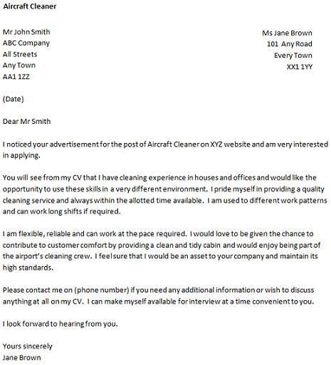 Cover Letter for a Aircraft Cleaner Job - icover.org.uk