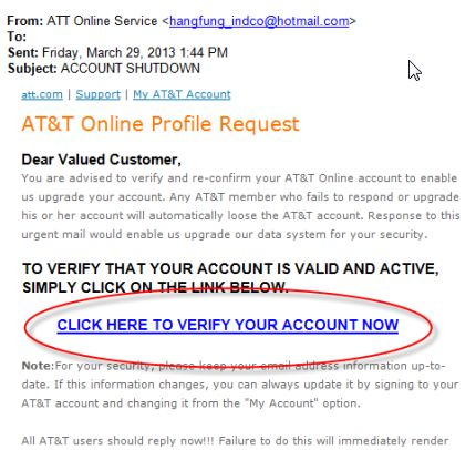 Identify Fake AT&T Emails - Email Support