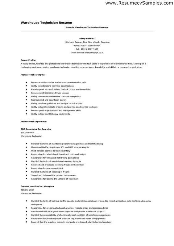 Sample Warehouse Resume Type your address here, Type your address ...