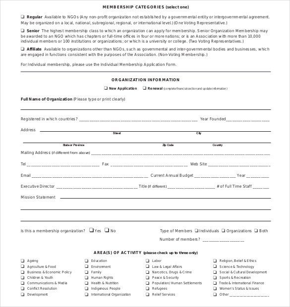 Membership Application Template – 12+ Free Word, PDF Documents ...