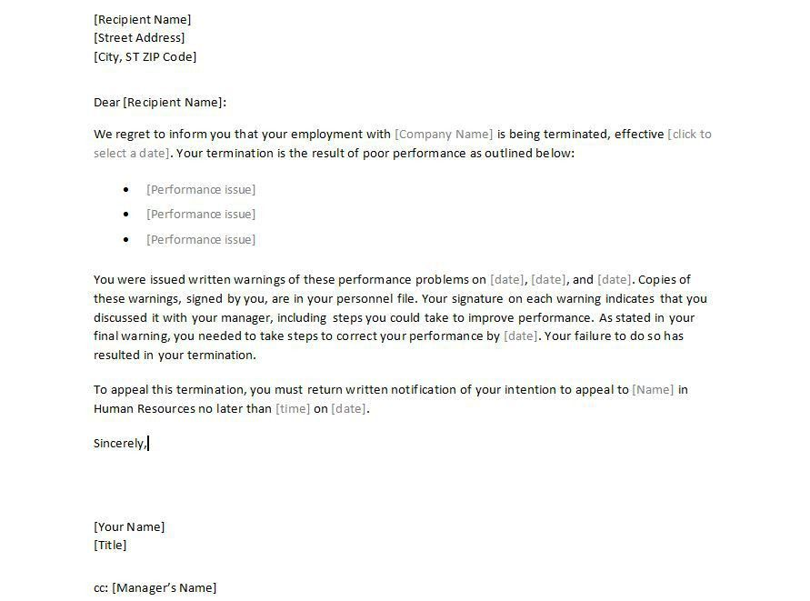 Sample Employee Termination Letter Template - employment ...