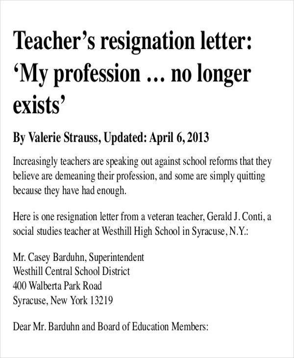 36+ Sample Resignation Letter Templates   Free & Premium Templates