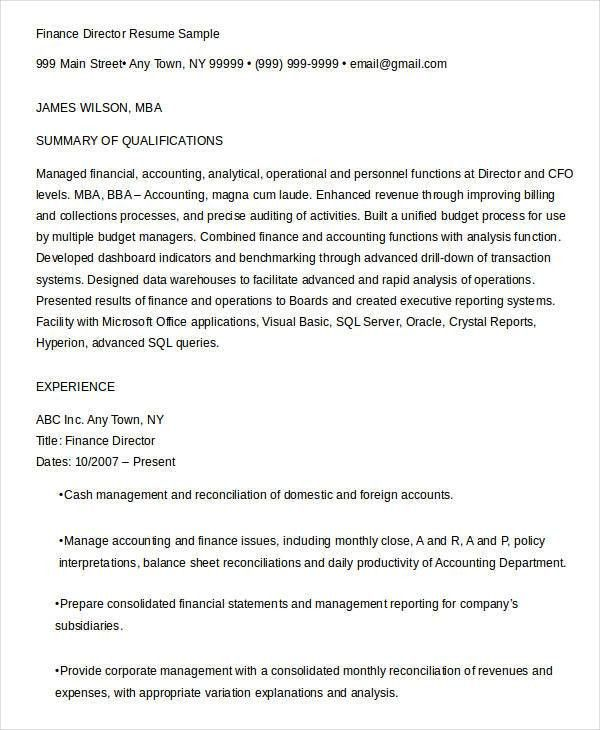 Finance Resume Samples - 21+ Free Word, PDF Documents Download ...