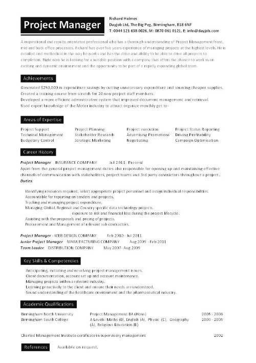 Project manager CV template, construction project management, jobs ...