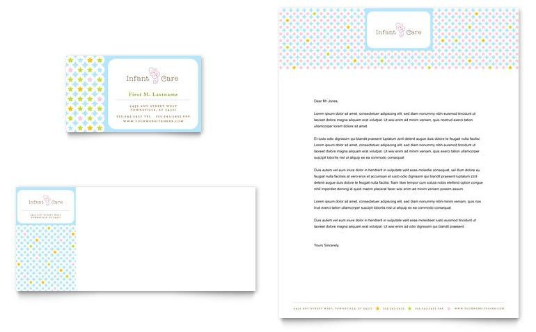 Infant Care & Babysitting Business Card & Letterhead Template ...