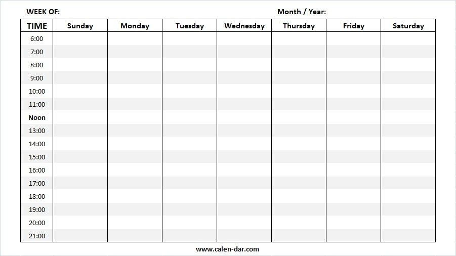 Blank Weekly Calendar Template | Printable Week Calendar Sample