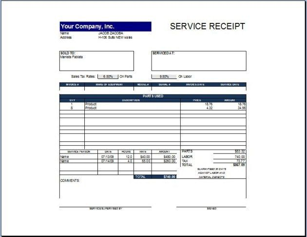 Simple and Easy to Use Service Receipt Template Sample for ...