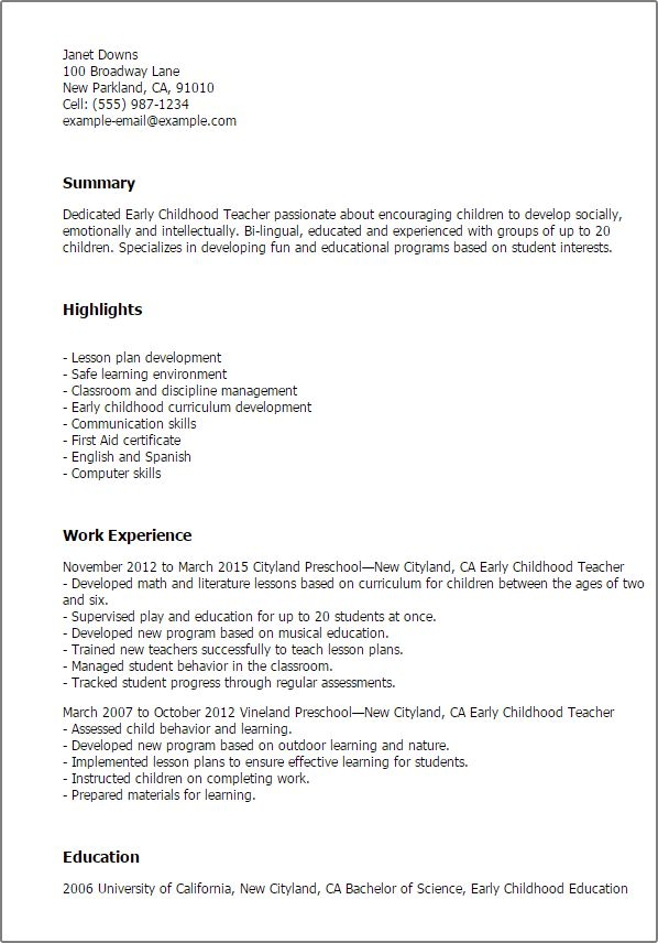 Professional Early Childhood Teacher Templates to Showcase Your ...