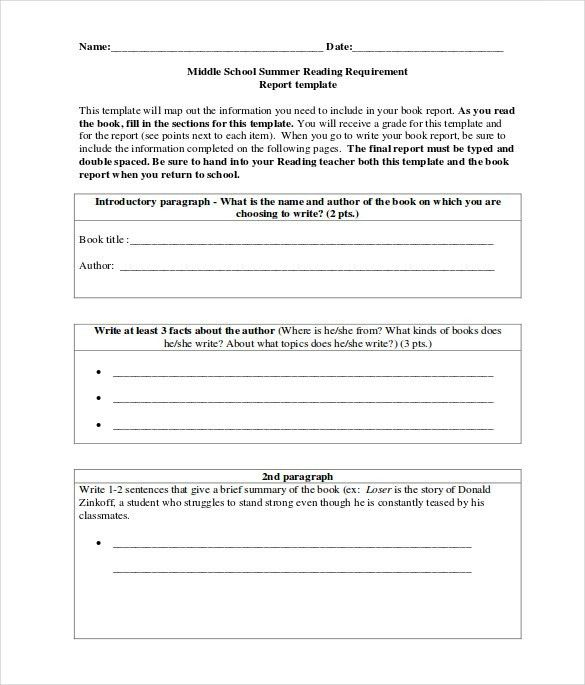 Sample Middle School Book Report - Documents In PDF, Word