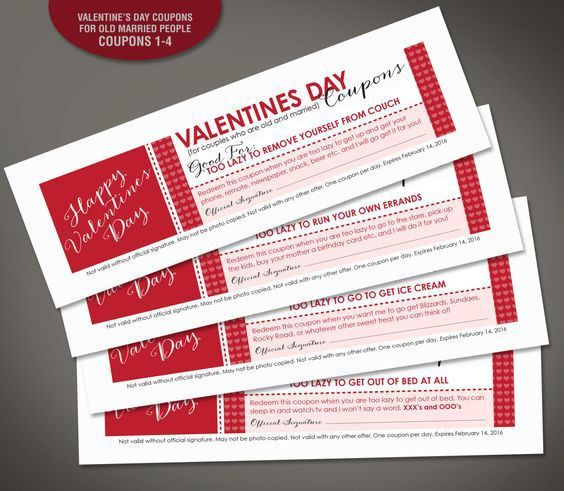 Funny Valentines Day Printable Vouchers, Coupons for Husband, for ...
