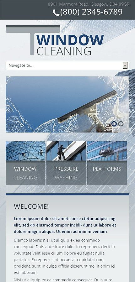 Grey Window Cleaning Website Template by Mercury - Bootstrap Extra ...