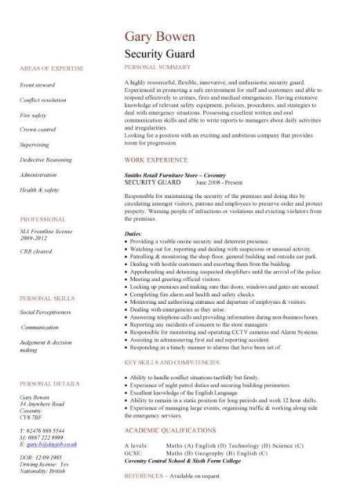 Sample security resume 11 download free documents in pdf word
