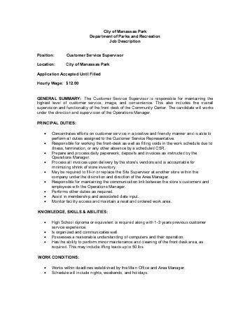 operations supervisor job description template. customer service ...