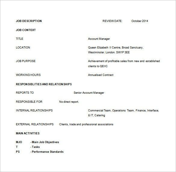 Account Manager Job Description Template – 11+ Free Word, PDF ...