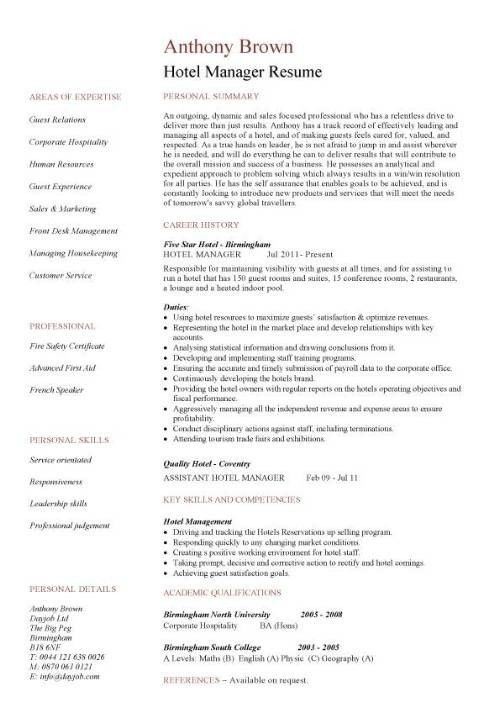 Hotel Assistant Manager Resume | The Best Letter Sample