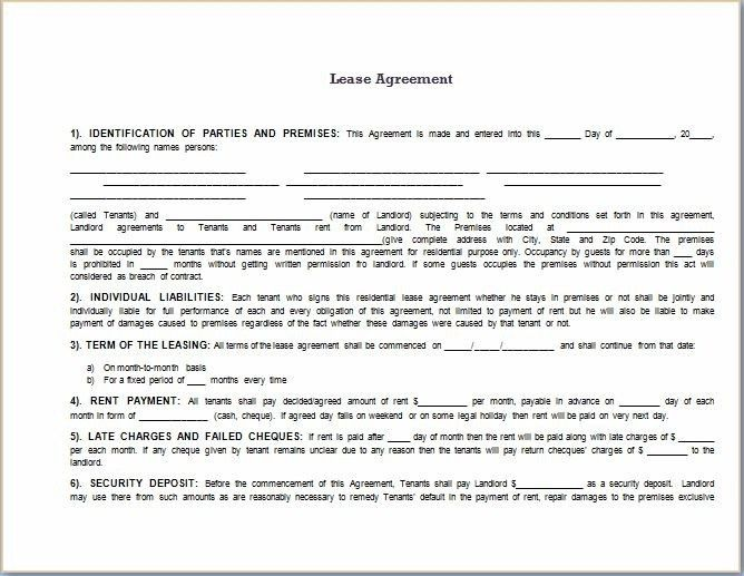 Lease Agreement Template Word - beepmunk
