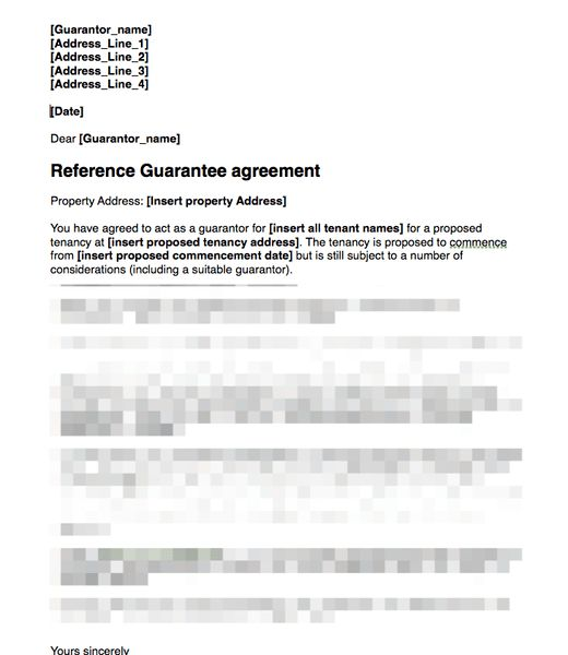 Proposed Guarantor Covering Letter For Signing Guarantee Agreement ...