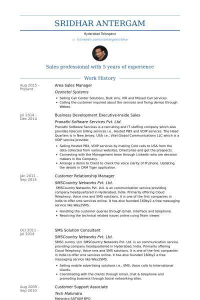Area Sales Manager Resume samples - VisualCV resume samples database